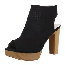 Women Summer Ankle Boots Mules Sandals High Heel Sling Back zip Peep toe Black A