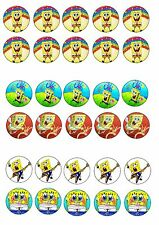 SPONGEBOB AND SQUAREPANTS  EDIBLE RICE WAFER PAPER CUP CAKE TOPPER X30