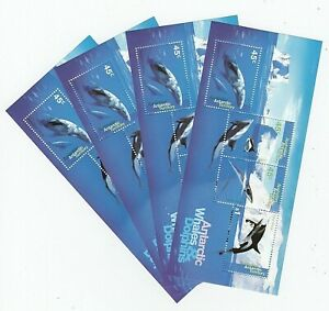 1995 AUSTRALIA STAMP MINI SHEETS x 4 'AAT ANTARCTIC WHALES & DOLPHINS' MNH