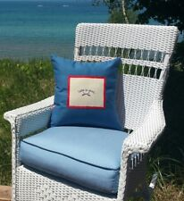 Hand Made Lake is Good Pillow - Blue with Paddle Design