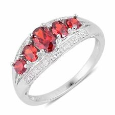 RED SIMULATED DIAMOND 5 STONE STERLING SILVER RING SIZE 7  FINE STERLING SILVER