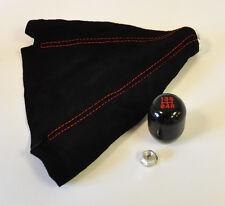 JDM Black & Red 5 Speed Gear Shift Knob & Red Stitch Suede Boot