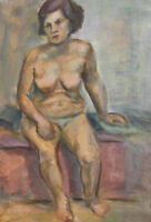 Vintage impressionist nude woman portrait watercolor painting
