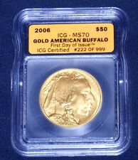 2006 $50 GOLD Buffalo<>ICG-MS70<>9999 PURE<>1st Day of Issue<>#222/999<>With Box