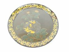 Japanese antique vintage yellow Makie lacquer wood dish plate plateau chacha