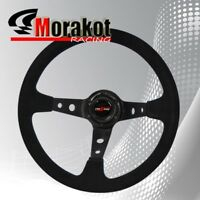 350mm Deep Dish 6 Bolt Suede Leather Steering Wheel Black Center (Blue Stitching