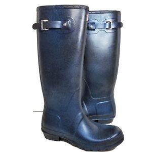 Hunter Women Rain Boots Classic Starcloud Tall Rubber Glitter Blue sz 10 new