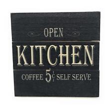 "Open Kitchen Coffee 5¢ Self Serve Vintage 4.5""x 4.5"" Mini Crate Wood Sign"