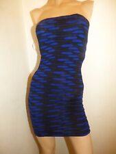 LIPSY BLUE BLACK STRETCH BANDEAU DRESS SIZE 8