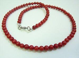 COLLIER CORAIL ROUGE perles 6 mm  longueur 50 cm fermoir mousqueton