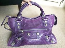 Authentic Balenciaga Giant City Bag With Dust Bag Purple Silver Stud