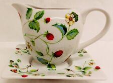 Strawberries & Butterflies Creamer/Gravy Boat & Square Deep Plate Porcelain Set