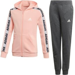 Adidas Girl Jogging Tracksuit Sports Suit Girl Suit Coral/Black