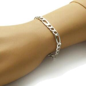 Men's 18K White Gold Plated 8 Inches Chain Figaro Link Bracelet 5mm Curb Chain