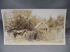 Antique B&W Photo Man Large Garden Woman Horse Buggy Small House
