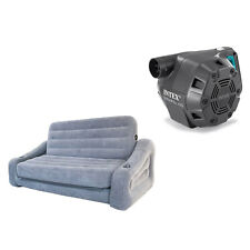 Intex Queen Inflatable Pull-Out Sofa Air Mattress & Intex 120V Electric Air Pump