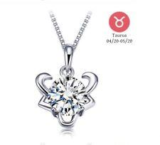 "CZ Taurus Pendant SOLID SILVER Zodiac Necklace 16"" Sterling Silver Box Chain"