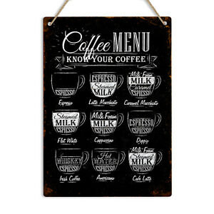KNOW YOUR COFFEE Vintage Retro Metal Tin Sign Plaque Home Decor Pub Bar Kitchen