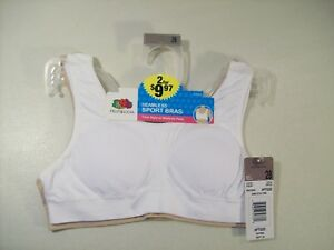 NEW GIRL'S FRUIT OF THE LOOM 2 PACK SEAMLESS SPORT BRAS SZ 28 MODESTY PADS TANK