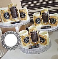 Hand Made Arabic Calligraphy Islamic Candle for Home Decor Gift set of 3-Golden
