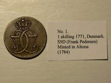 Denmark 1771Skilling Minted in Altona 1784 Thick C  #G5561