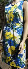 New DEBENHAMS Sleeveless Floral Cotton Blend Tea Dress Size: 12