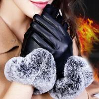 1 Pair Womens Lady Black Leather Gloves Autumn Winter Warm Rabbit Fur Mittens