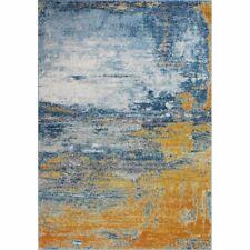Bashian Everek Area Rug Abstract White Marine Blue Yellow Orange 229 x 290cm
