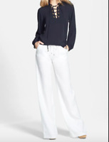 Micheal Michael Kors Women's Linen Pull On Pants, White, Size 10, $88, NwT
