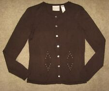 First Issue by Liz Claiborne Brown Button Down Cardigan Sweater Size S