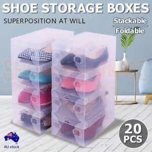20 Transparent Clear Plastic Shoe Storage Box Foldable Stackable Boxes Container