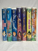 Lot of 7 Walt Disney VHS Tapes Black Diamond Classics Aladdin Beauty & The Beast