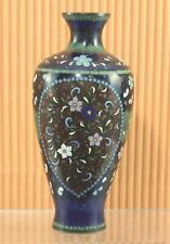 Antique 19th c. Meiji Japanese Cloisonne Goldstone Black w/Pink & Blue Flowers