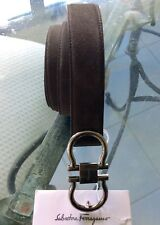 Salvatore Ferragamo Large Double Gancio Gray Suede Belt New Authentic tag $380
