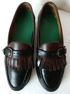 Vintage FootJoy Leather Kilte Buckle Loafers Size 9.5 C Brown Black Made in USA