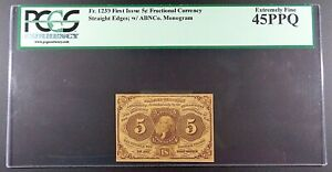 Fr. 1230 5-cent First Issue Fractional Note, PCGS EF-45 PPQ.