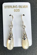 Mother of Pearl Inlay .925 sterling silver Earrings Dangle Drop Stamped