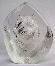 "Mats Jonasson Lead Crystal Sweden Norwich Terrier Figure Dog Paperweight 3 3/4"""