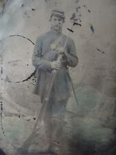COLOR!! TALL  CIVIL WAR SOLDIER HAND TINTED UNIFORM 1/6 PLATE TINTYPE ARMED