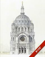 ST AUGUSTINE CHURCH PARIS ARCHITECTUAL DRAWING ON REAL CANVAS GICLEE 8X10 PRINT