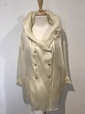 Genny By Gianni Versace Silk Blend Blond Yellow Press Stud Jacket With Hoodie XL