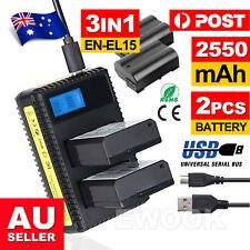 2Pcs EN-EL15 2550mAh Battery +Charger For Nikon D7200 D7100 D7000 D810 D750 D610