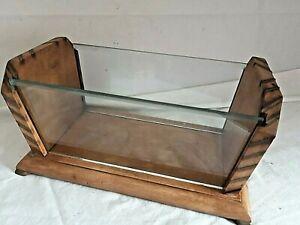 Vintage Wooden And Glass Letter Rack Desk Documents Holder Home Office Stand
