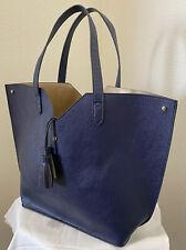 NEW Neiman Marcus Navy Blue Faux Pebbled Leather Tote Large Tassel Handbag