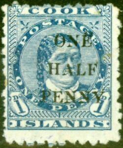 Cook Islands 1899 1/2d on 1d Blue SG21 Good Mtd Mint