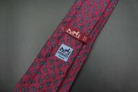 Vintage Hermes Paris Made In France Red Rope Geometric Pattern Silk Tie 771 UA
