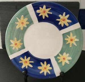 """Pottery Barn 9""""  Salad Plate Yellow Star on Green & Blue with  White Center"""