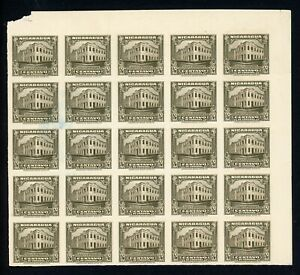 Nicaragua Specialized: MAXWELL #632 ½c Post Office PLATE PROOF BLOCK 25 RRR $$$