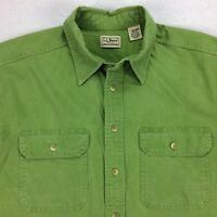 Vintage LL Bean Field Chamois Camp Shirt Mens LT Tall Large Green Short Sleeve