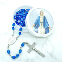 Silver Plated Our Lady Of Grace Hail Mary Rosary Necklace Blue Beads Gift Case